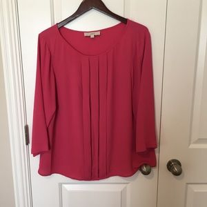 LOFT Hot Pink Pleated Blouse